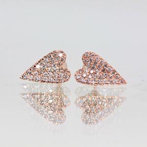 Gorgeous 14k Rose Gold Narrow Heart Studs Earrings